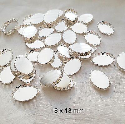 10 x Oval Silver Plated Pendant Settings Lace Edged Tray Setting Only 18x13mm