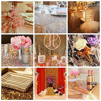 1/5 Sequin Decor Table Runner Gold/Silver/Champagne Cloth Wedding Party 30x200cm