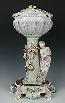 "Antique 19C Dresden Volkstedt figurine ""Lamp with Draped Woman"" WorldWide"