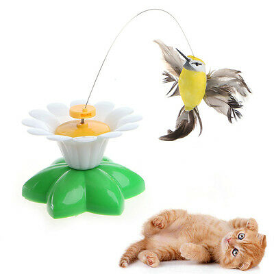 Pet Cat Funny Kitten Toys Electric Rotating Butterfly Rod Cat Teaser Play Toy