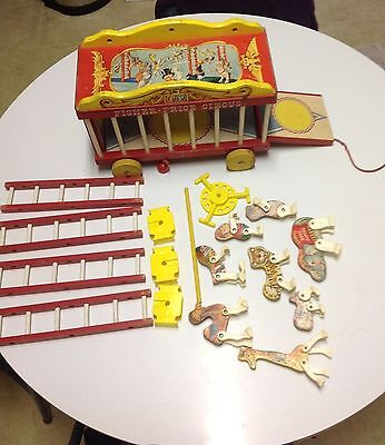 Fisher Price Circus Wagon Pull Toy Animals Ladders 1962