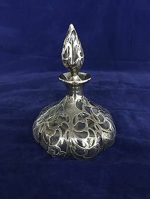 Antique sterling silver overlay bottle with stopper, Alvin, ca. 1900