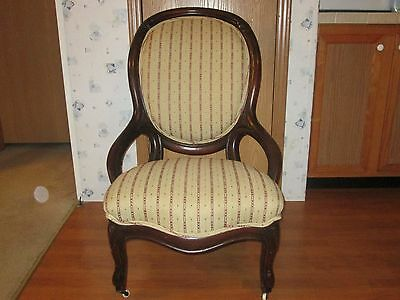 Vintage Queen Anne Victorian 1800's Upholstered Antique Chair Casters RARE FIND