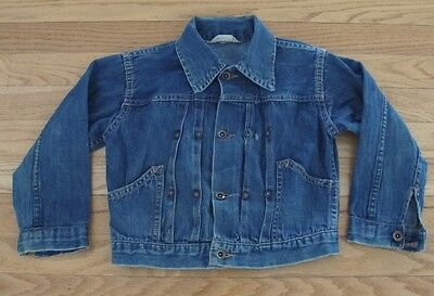 VINTAGE ORIGINAL 1940's PLEATED RIVET DENIM JACKET KIDS DANNY DARE DONUT BUTTON