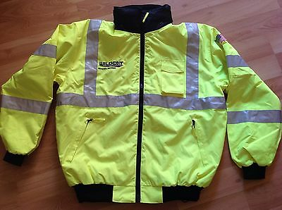 waterproof safety jacket with hood and Removable fleece lining. Size XL