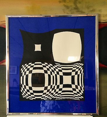 Beautiful Victor Vasarely Modern Geometric Abstract  Hand Signed Chrome Frame