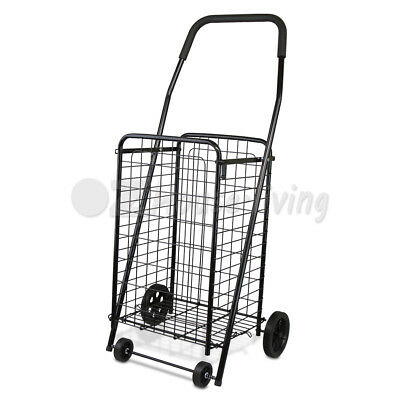NEW Shopping Trolley Collapsible Rolling 4 Wheels Steel Metal Basket Folding Car