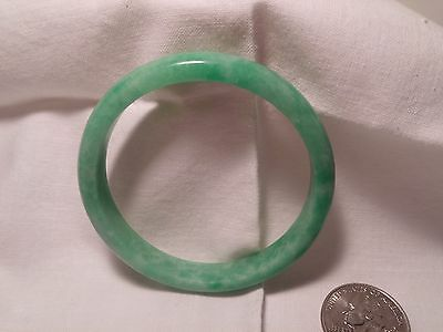 Chinese Old Carved Apple Green Jade Bangle Bracelet