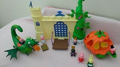 Peppa pig storytime castle, pumpkin carriage & flying dragon, excellent cond!