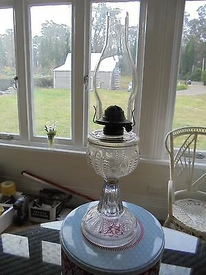 Vintage pressed glass Edwardian kerosene lamp & flue.