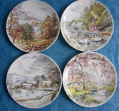 4 POOLE POTTERY Collector Display PLATES Englands Four Seasons