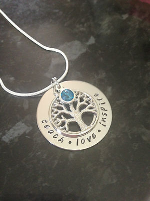 Hand Stamped Personalised Name Tree Of Life Necklace With Birthstone.Custom Made