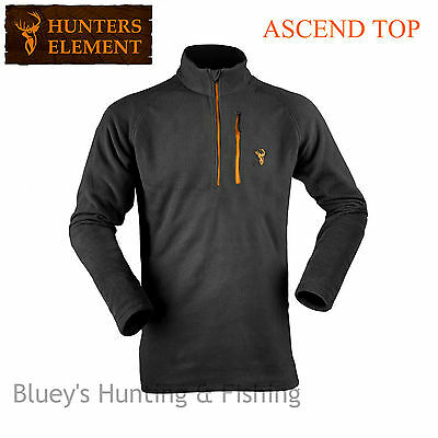 Hunters Element Mens Hunting Habitat Ascend Black Fleece Zip Top