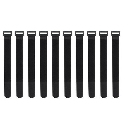 10x Black Self Adhesive Hook Loop Cable Ties Fastener Strap Cord Organizer 20cm