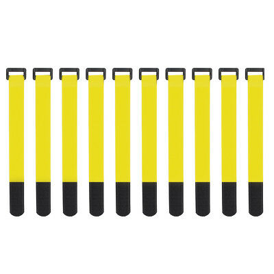 10x Yellow Self Adhesive Hook Loop Cable Ties Fastener Strap Cord Organizer 20cm