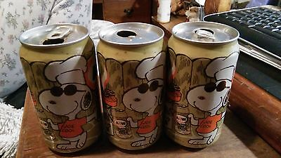 three vintage Joe Cool Snoopy barbecue A&W Root Beer aluminum cans