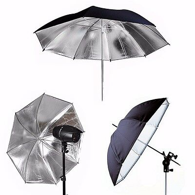 Black Photography Studio Silver Reflective Umbrella Photo Light Studio Softbox