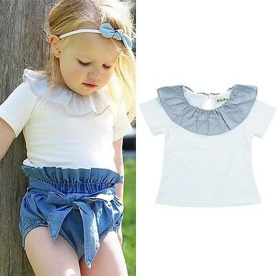 Baby Kids Girls Cotton Summer T-Shirt Short Sleeve Casual Blouse Tops Clothes