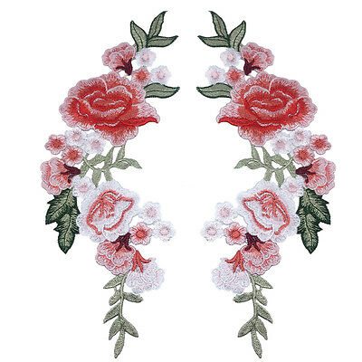 1 Pair Red Rose Flower Embroidery Iron On Appliqué Cloth Sewing & Iron Patch