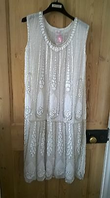 Brand new heavily beaded 20s style white dress, size M