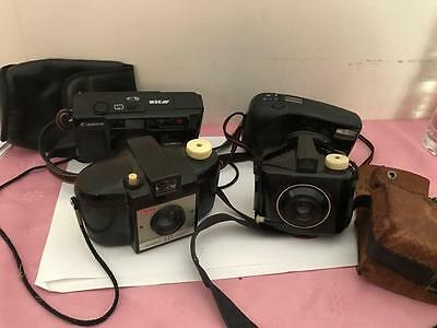 LOt# 6461 Four Vintage Camera Brownie Special 127 Kodak Canon Kyocera Used