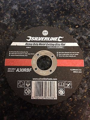 Silverline Heavy Duty Metal Cutting Disc 103610 115 X 3 X 22.23mm