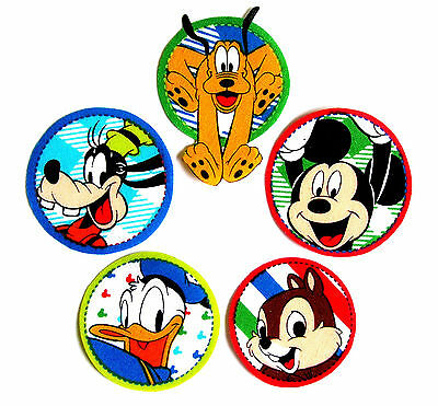 ❤️ Lot 5 Patchs Thermocollant Tissu Disney Mickey Et Ses Amis Embellissement