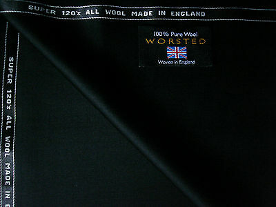 100%FINEST SUPER 120'sWOOL WORSTED SUITING FABRIC IN BLACK-By Martin Sons**3.4 m