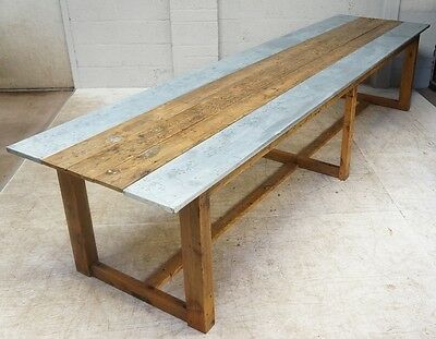 Vintage Large Rustic Pine & Zinc Plank Refectory Dining Table