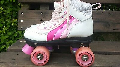 Kids roller skates quad boots pink UK 2 euro 34 rubber wheels quality trucks