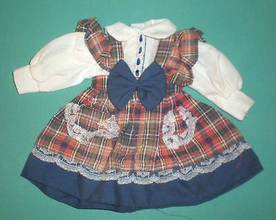 """doll dress blue/red checked 7 1/2"""""""