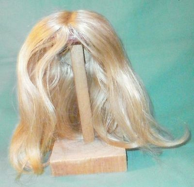 """doll wig/ human hair 10"""" to 11"""" blonde/center parting, halflength"""