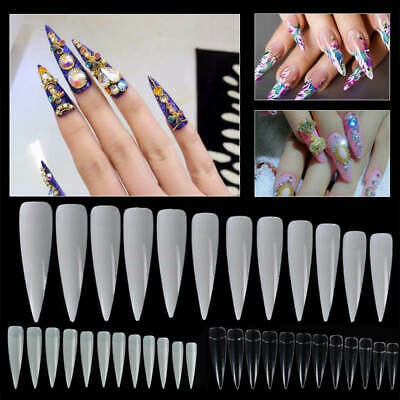 60x Long Sharp Stiletto Nail Art Acrylic Gel Fake False Tips White Clear Natural
