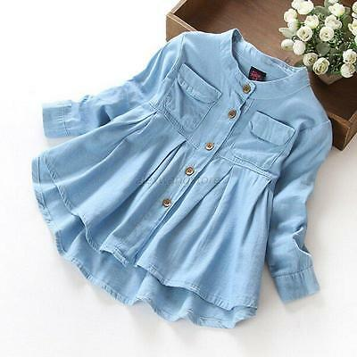 Baby Kids Girls Cotton Long Sleeve Blouse Spring Autumn Button Casual T-Shirt