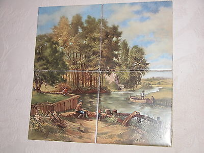 "Set Of 4 'J C Van Hunnik' Fishing Scene Tiles - New - Not Mounted - 6"" Sq Each"