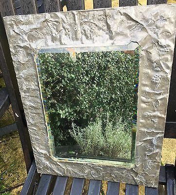 Antique 18-19Th C Hand Hammered Metal Wall Bevelled Mirror