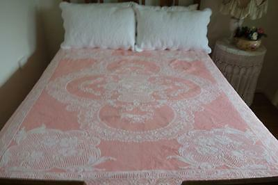 Prettiest Pink & White Marcella Cotton Vintage Single Bedspread