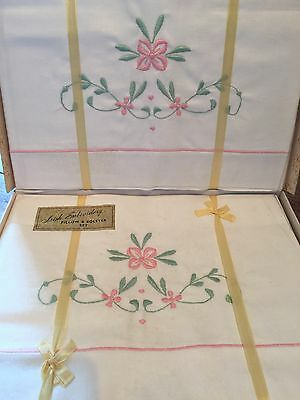 Vintage Set Of New Irish Pink Embroidered Pillow Cases &  Bolster /original Box