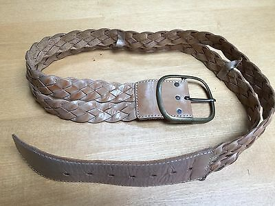 Preloved 1980'S Real Leather Double Braided Wide Belt - Tan