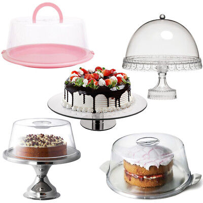 Cake Display Stands Box Domes Cover Pedestal Plate Cupcake Lid Dessert Kitchen