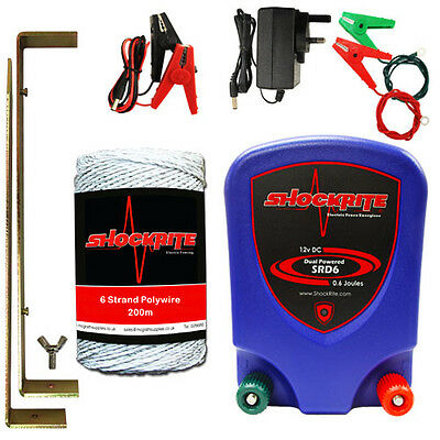 Electric Fence Energiser Dual Powered Mains / 12V Battery 0.6J 200m White Wire
