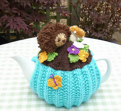 Hand Knitted Woodland Hedgehog Tea Cosy For A Medium Teapot Crochet Flowers