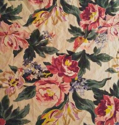 Vtg Shabby Pink Cottage Rose Floral  Barkcloth Era Cotton Decor Cutter Fabric
