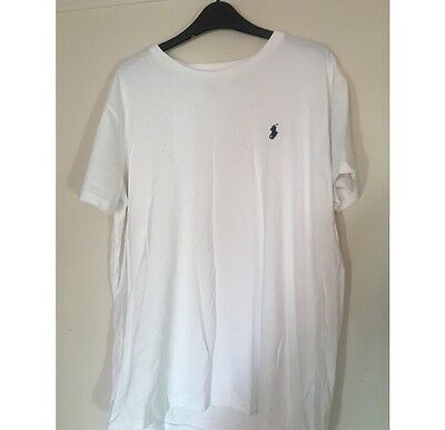 Ralph Lauren T Shirt White With Navy Embroidery