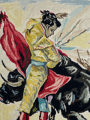 VINTAGE BULLFIGHTER Wall Art Tapestry Needlepoint RETRO Spanish DECOR picture