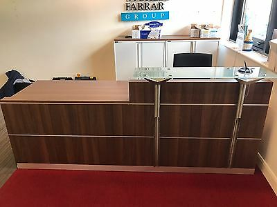 Reception Desk / Counter Dark Wood With Glass Top