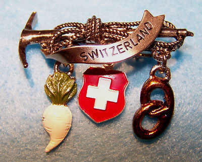 Switzerland Germany Bavaria Trachten Tyrolean Oktoberfest Hat Pin with Charms!!