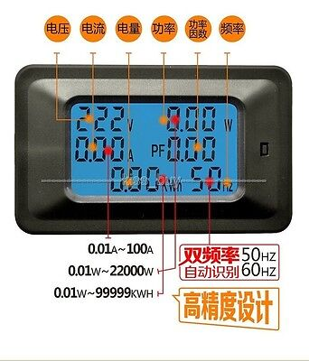 Digital LCD AC Meter Voltage 110V 220V Current 20A Power Factor KWH Frequency