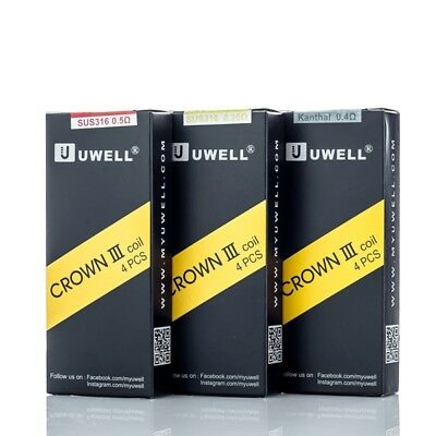 Pack Of 4Authentic Uwell Crown 3 III Tank Replacement Coils 0.5 Ω 0.25 Ω