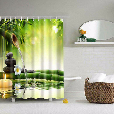 Bathroom Fabric Shower Curtain Bamboo Stones Natural Landscape Tranquility Decor